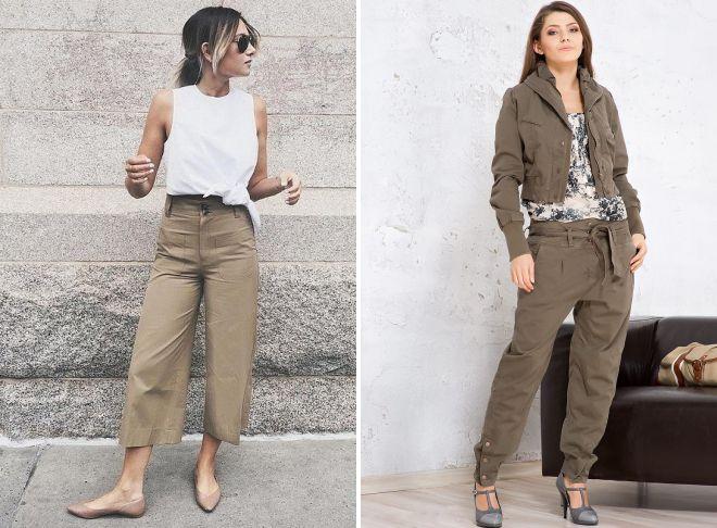 женские штаны в стиле милитари
