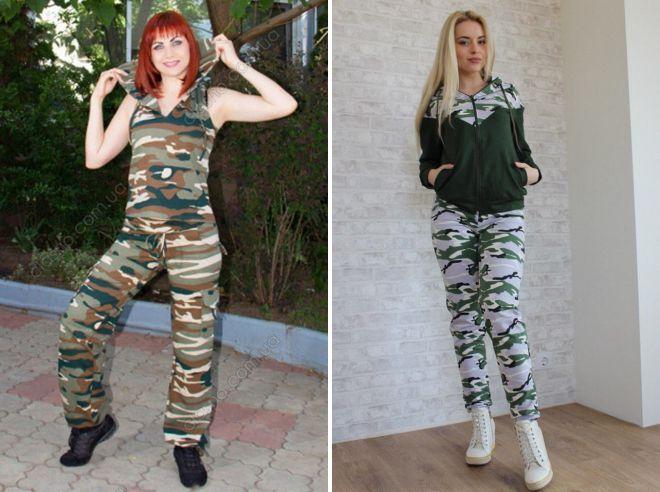 женские спортивные штаны милитари