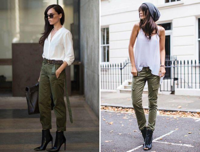 брюки милитари с блузкой