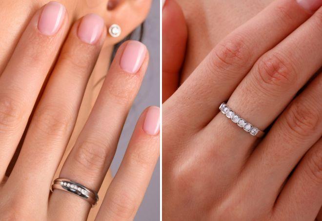 кольцо бриллиантовая дорожка из белого золота