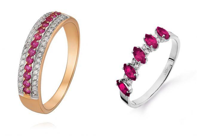 кольцо дорожка с рубинами