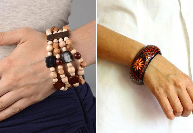 модные деревянные браслеты