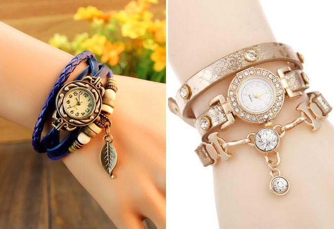 модные женские часы браслет