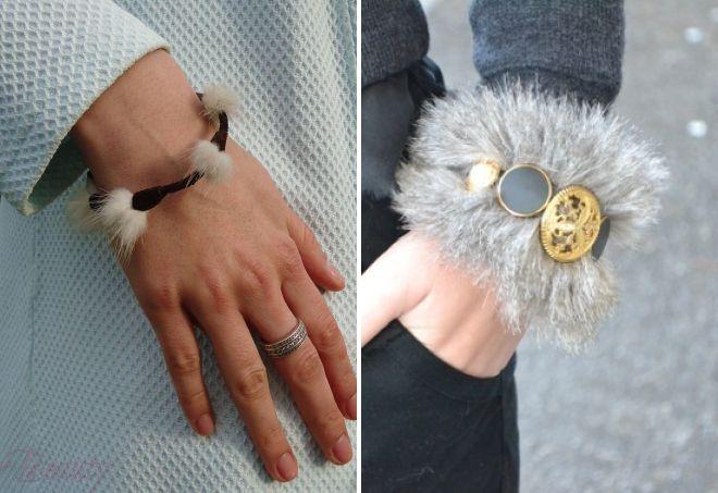 модные браслеты с мехом