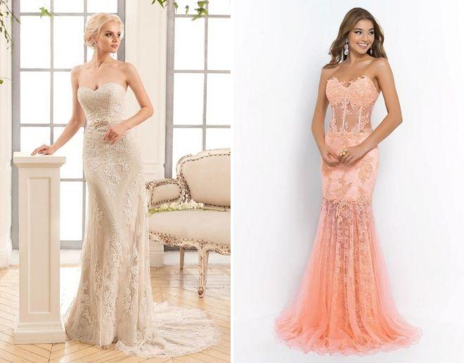 свадебное платье с корсетом и прямой юбкой