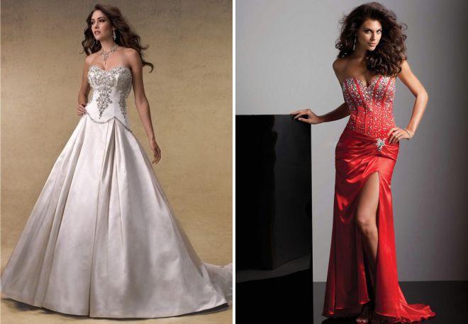 свадебное платье с камнями на корсете