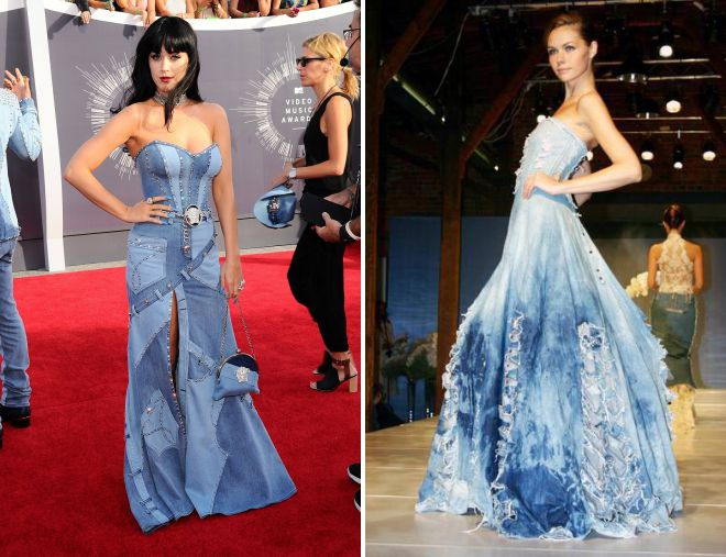 длинное джинсовое платье с корсетом
