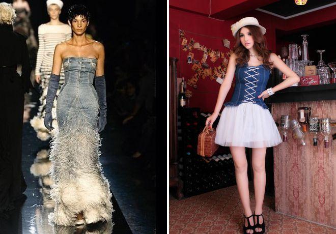 модное платье с джинсовым корсетом