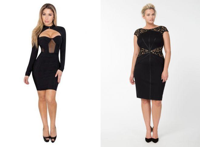 модное черное платтье с корсетом