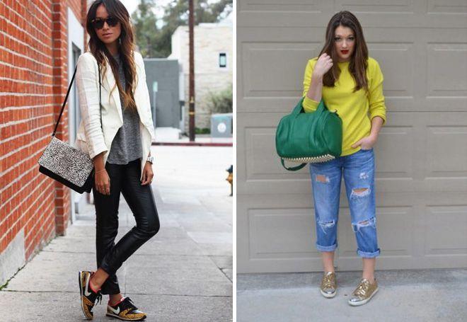 блестящие кроссовки с джинсами и леггинсами