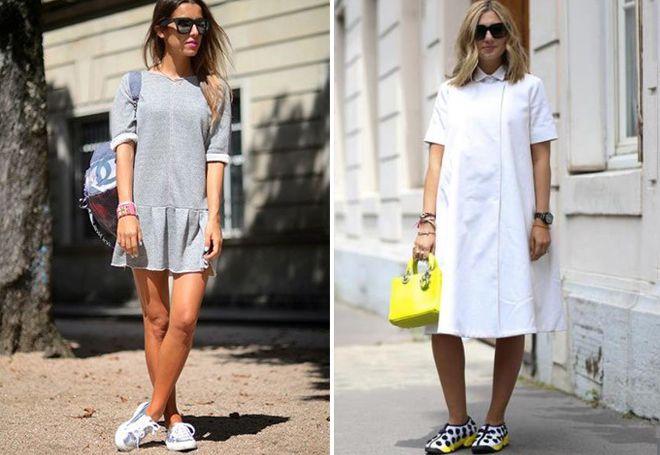 блестящие кроссовки с платьем