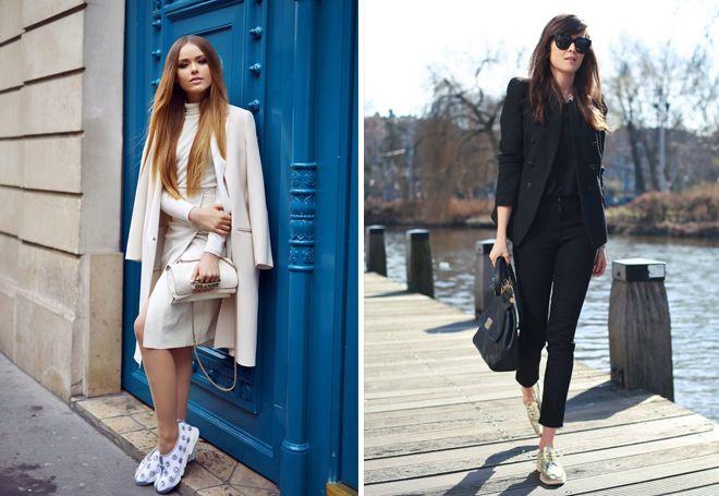 блестящие кроссовки с одеждой в классическом стиле