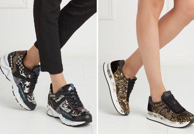 кроссовки с пайетками
