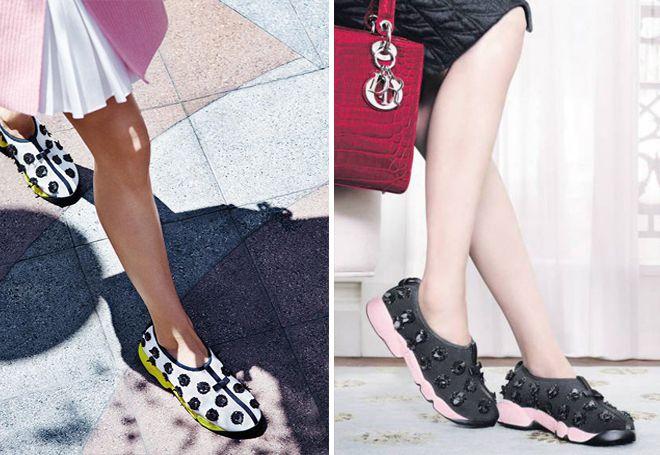 блестящие кроссовки Диор