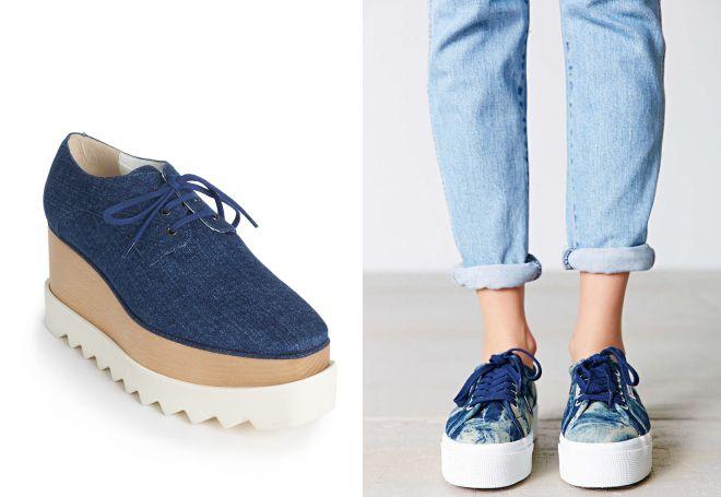 джинсовые кроссовки на платформе