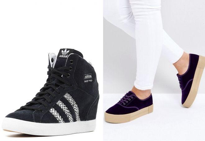 Модные женские кроссовки на платформе − черные, белые, розовые ... 896c8ba4a65
