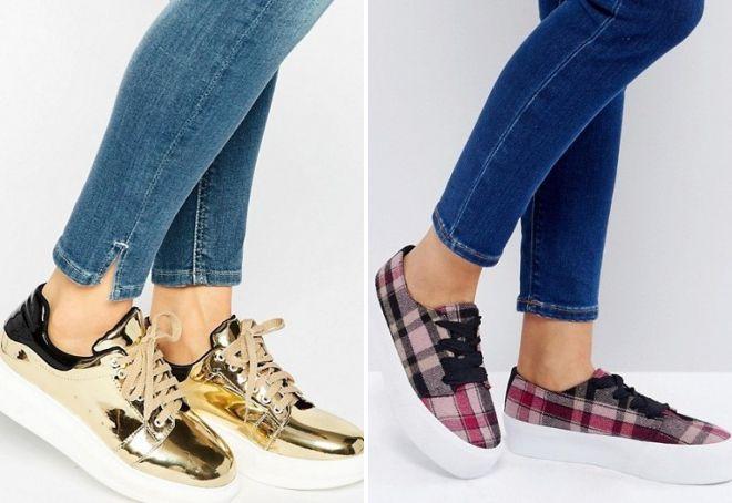блестящие кроссовки на платформе