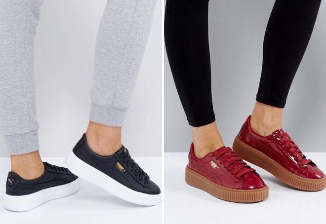 кроссовки на платформе пума
