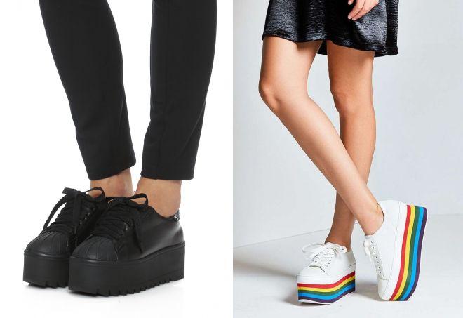 черные женские кроссовки на платформе