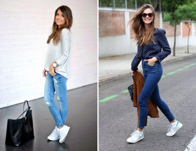 jeans avec des baskets blanches