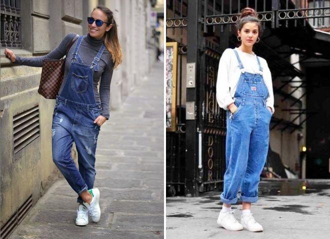 baskets blanches et salopettes en jean