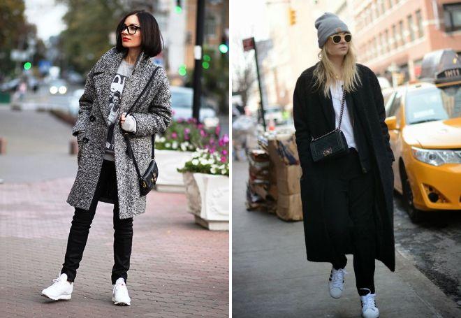 baskets blanches avec manteau