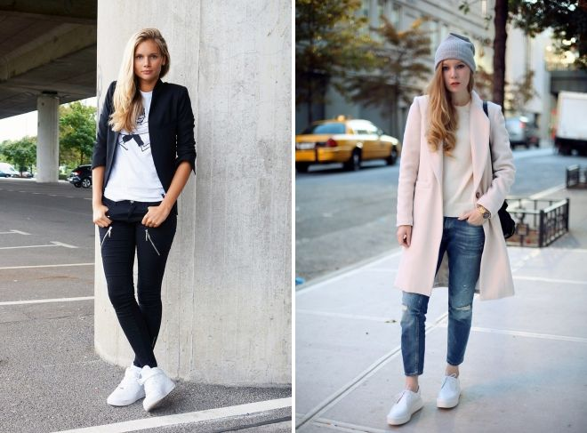 с чем носить женские белые кроссовки
