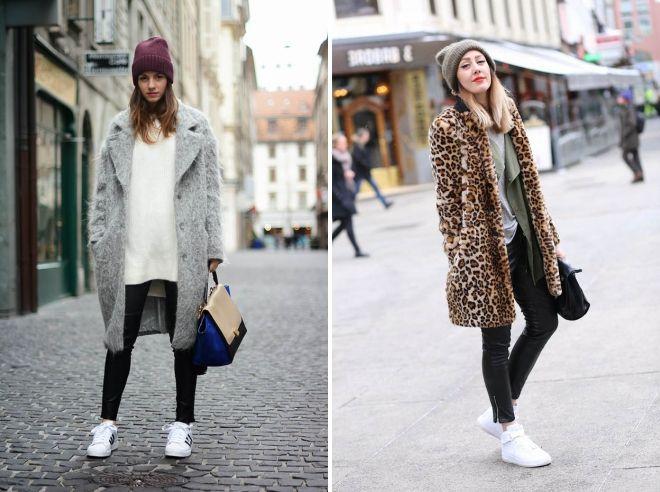 с чем носить белые кроссовки осенью