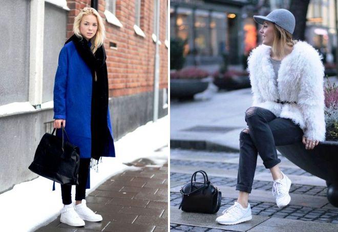 с чем носить белые кроссовки зимой
