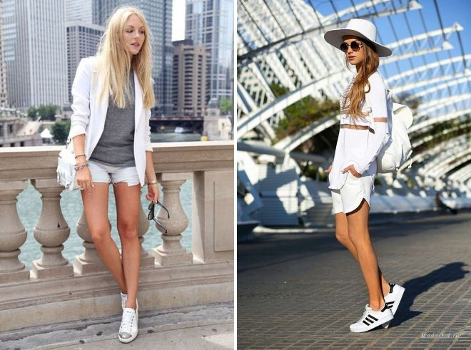 с чем носить белые кроссовки летом