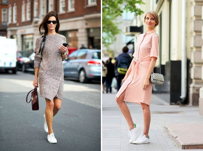 baskets blanches avec une robe