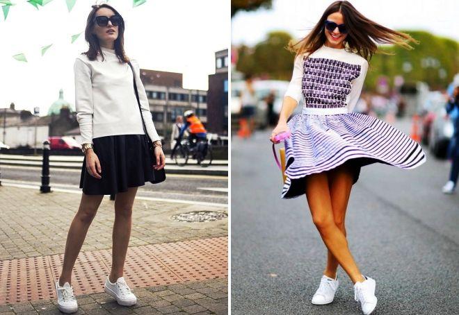 белые кроссовки с юбкой