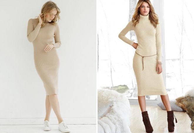 бежевое платье лапша