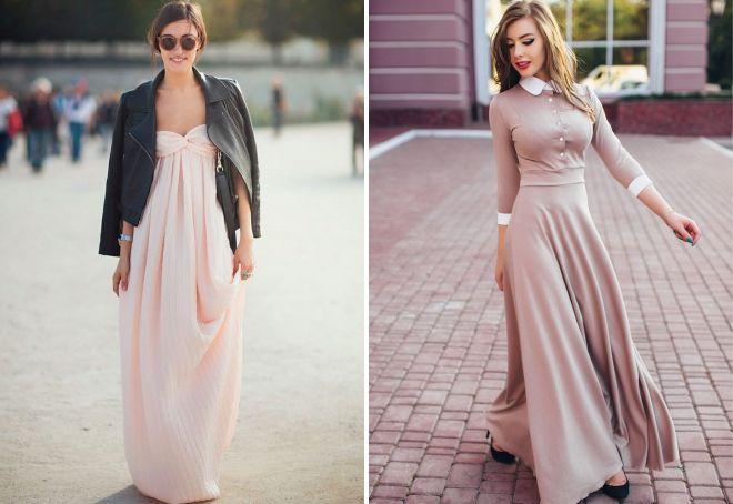 с чем носить бежевое платье в пол
