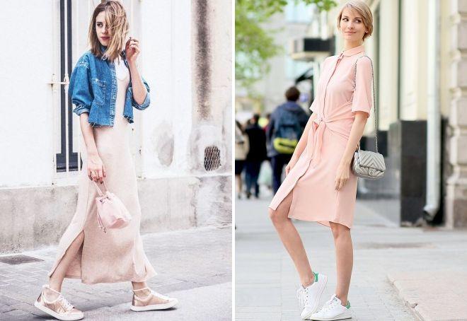 стильное бежевое платье