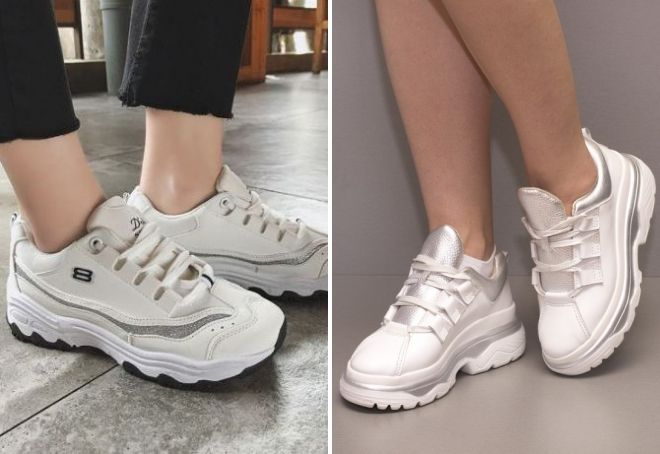 белые массивные кроссовки