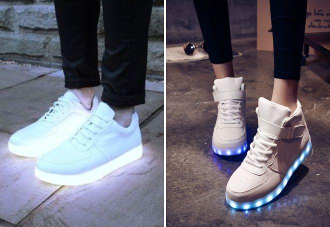 светящиеся белые кроссовки