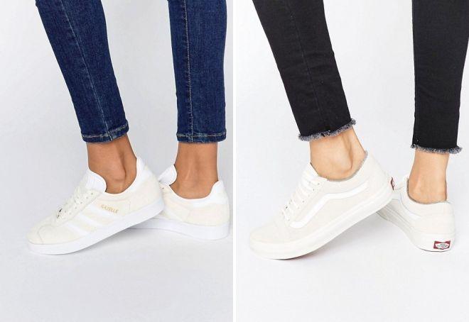 женские белые замшевые кроссовки