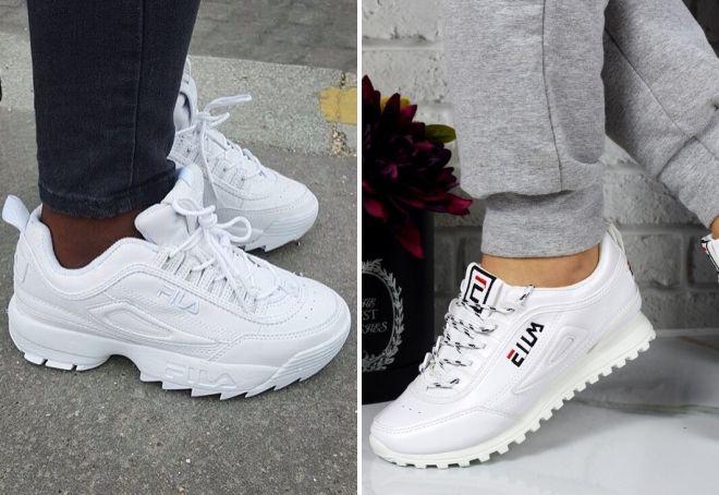 женские белые кроссовки fila