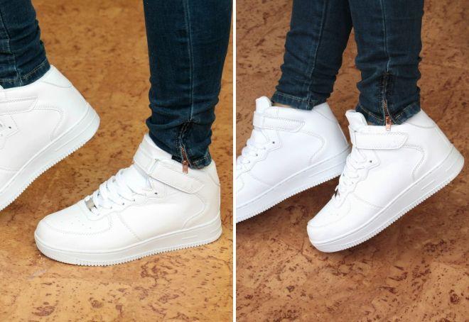 женские белые высокие кроссовки