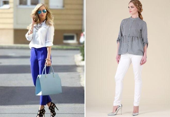 женская блузка с брюками