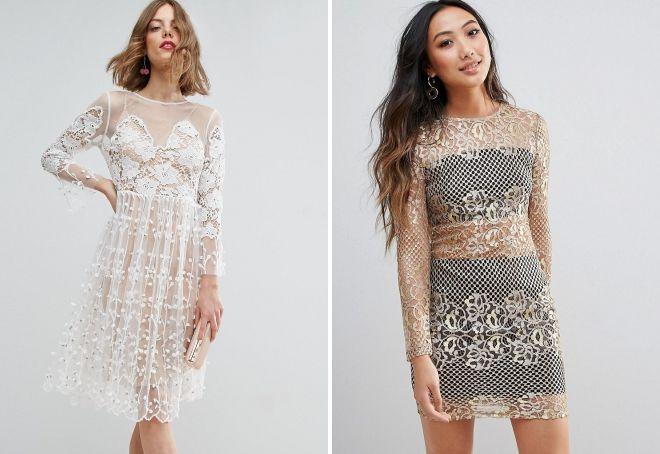 ажурное прозрачное платье