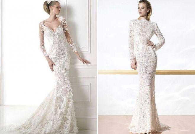 ажурное свадебное платье с длинным рукавом