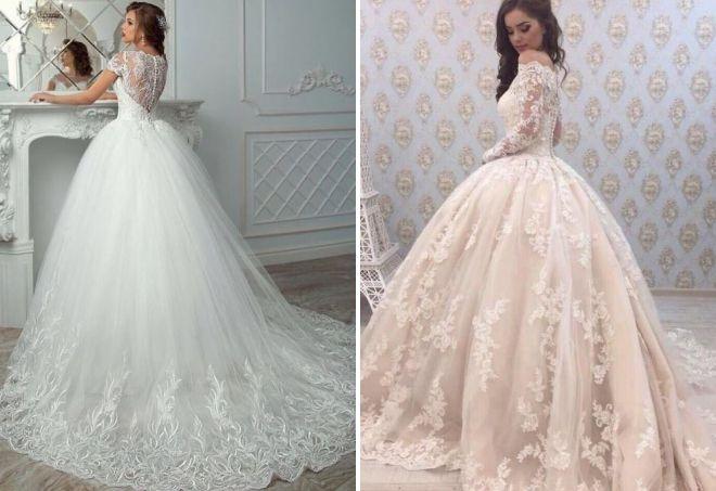 ажурные пышные свадебные платья