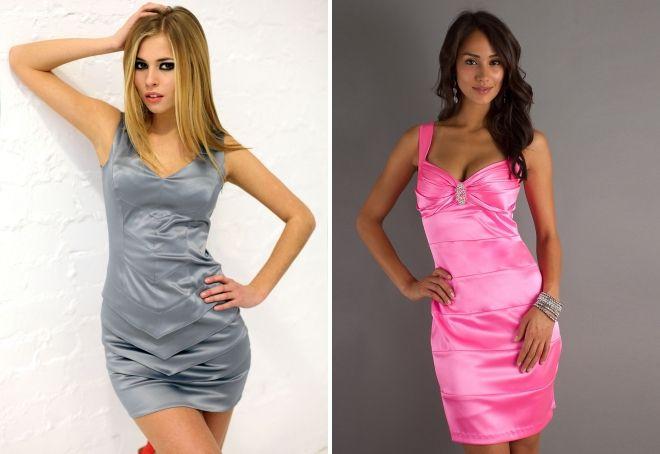 атласные платья мини