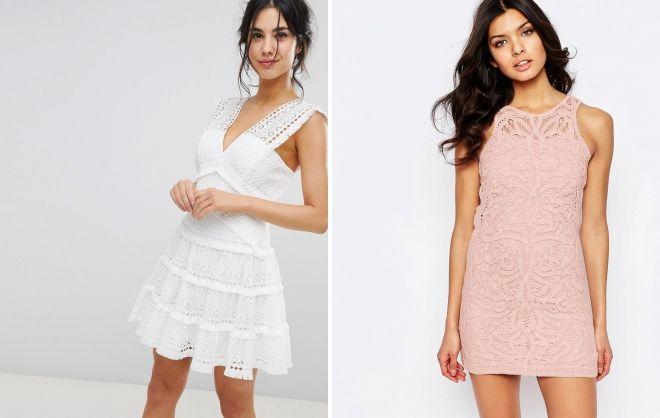 короткое кружевное мини платье