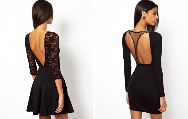 короткое черное платье с открытой спиной