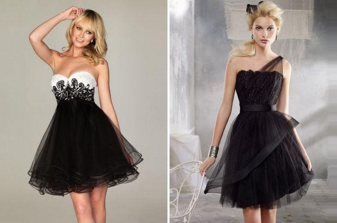 черное короткое свадебное платье
