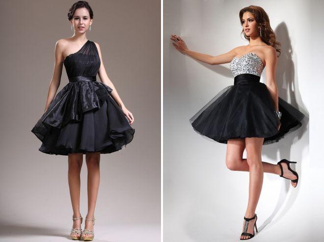 короткое черное платье для невесты