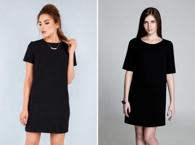 черное короткое прямое платье